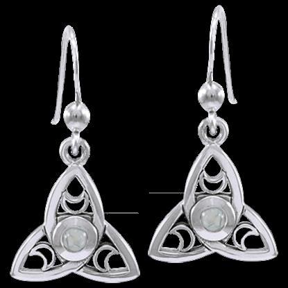Celtic Triquetra Moon Earrings