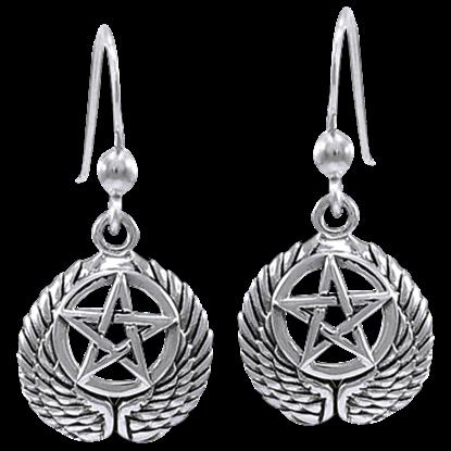 Silver Winged Pentacle Earrings