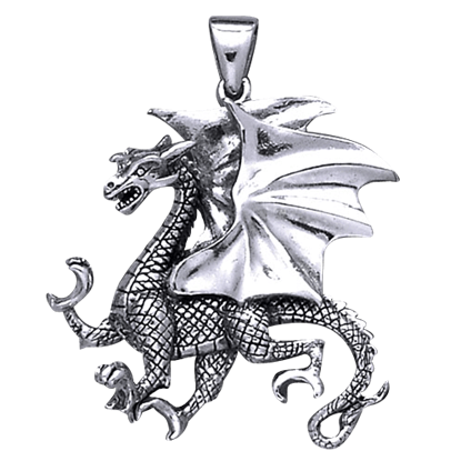 Clawing Dragon Silver Pendant