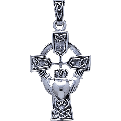 Celtic Cross and Irish Claddagh Pendant