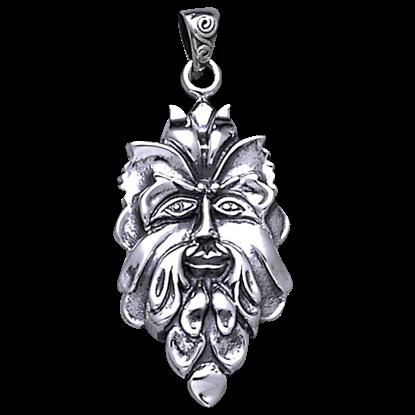 Green Man Silver Pendant