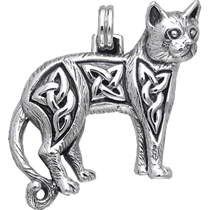 Celtic Cat Silver Pendant