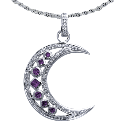 Amethyst Element Moon Pendant