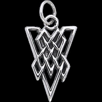 White Bronze Triangle Knot Charm