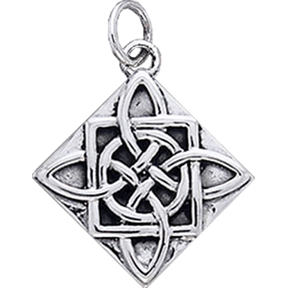 White Bronze Four Point Celtic Knot Charm
