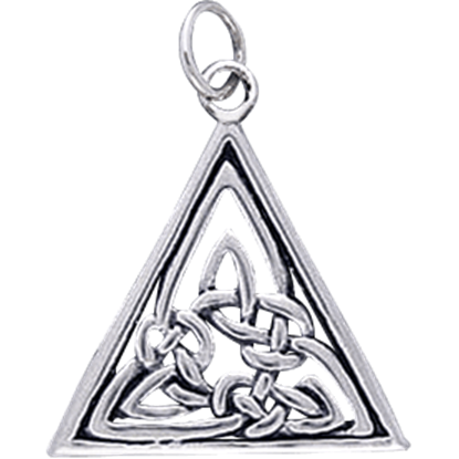 White Bronze Celtic Triangle Knotwork Charm