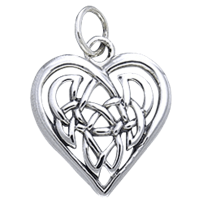 White Bronze Celtic Heart Charm