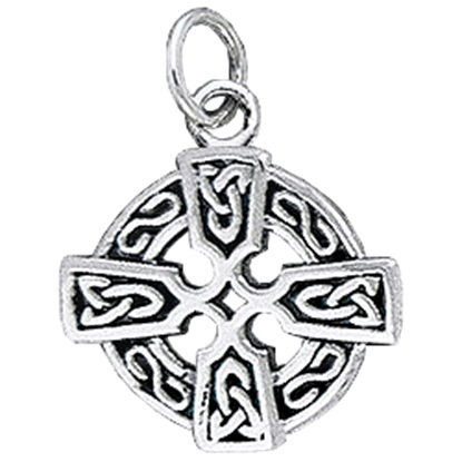 White Bronze Round Celtic Cross Charm