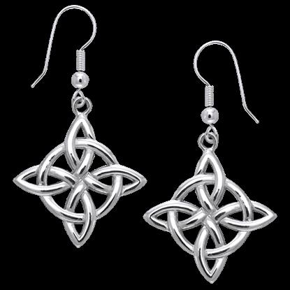 White Bronze Quaternary Knot Earrings