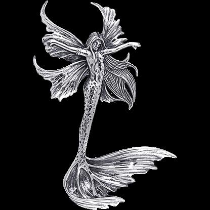 White Bronze Sea Sprite Fairy Pendant