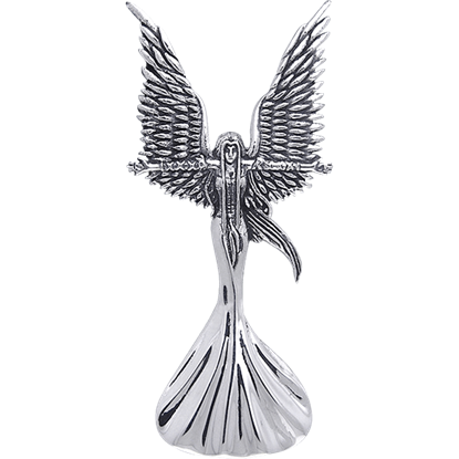 White Bronze Calling the Storm Angel Pendant