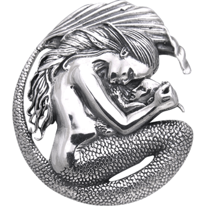 White Bronze Mermaid Motherhood Pendant