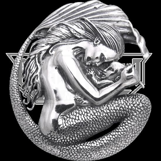 White Bronze Mermaid Motherhood Pendant