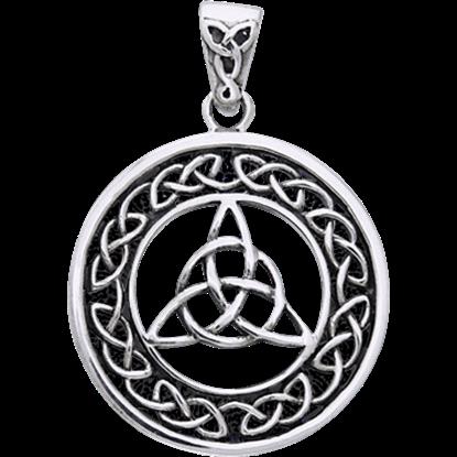 White Bronze Triquetra Circle Pendant