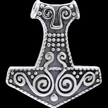 White Bronze Spiral Mjolnir Pendant