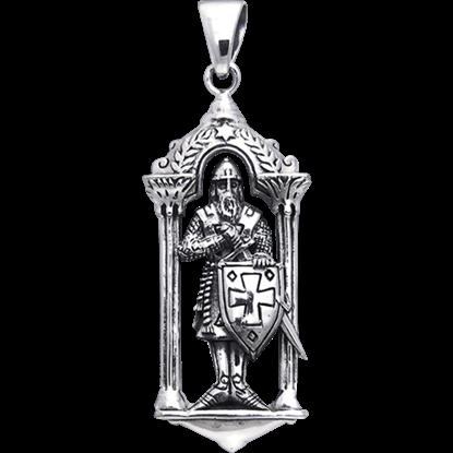 White Bronze Templar Knight Pendant