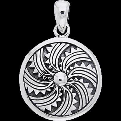 White Bronze Viking Round Shield Pendant