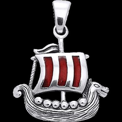 White Bronze Viking Ship Pendant