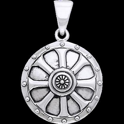 White Bronze Viking Shield Pendant