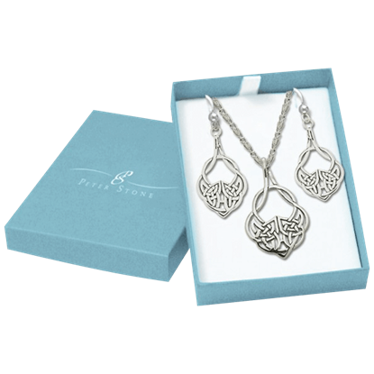 White Bronze Celtic Knot Jewelry Set