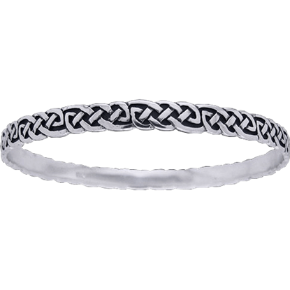 White Bronze Celtic Knotwork Bangle Bracelet