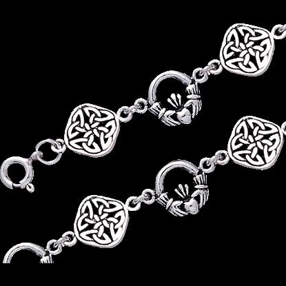 Celtic Claddagh and Quaternary Knot Link Bracelet