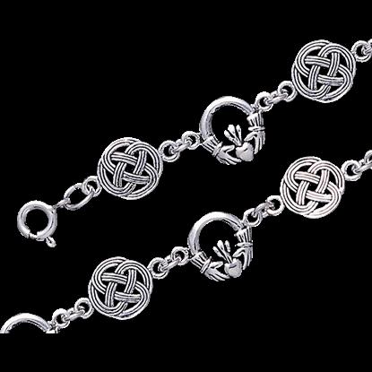 Celtic Claddagh and Knotwork Link Bracelet