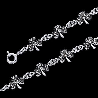 Marcasite Shamrock Link Bracelet