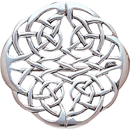 White Bronze Celtic Eternal Knot Brooch