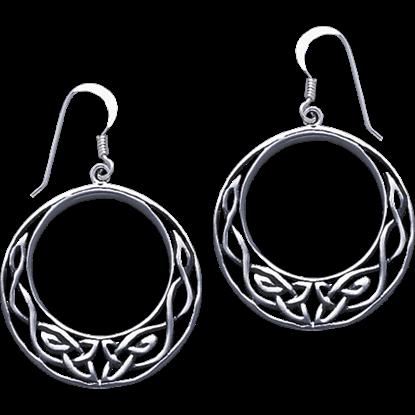 White Bronze Open Circle Celtic Knot Earrings