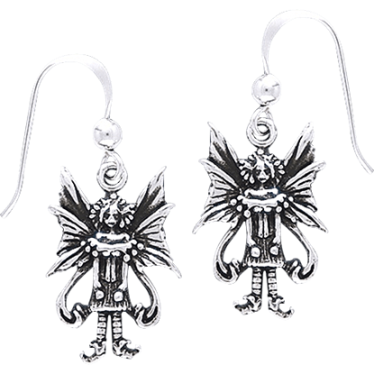 White Bronze Caffeine Overload Fairy Earrings