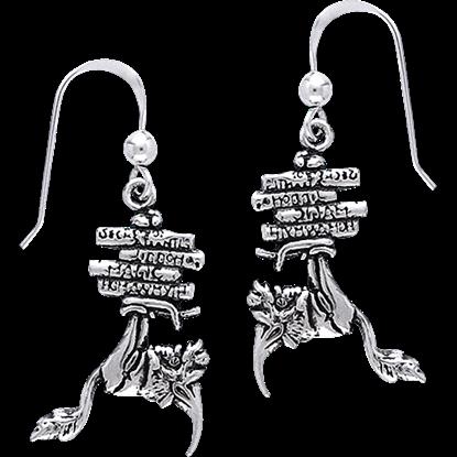 White Bronze Bookworm Earrings