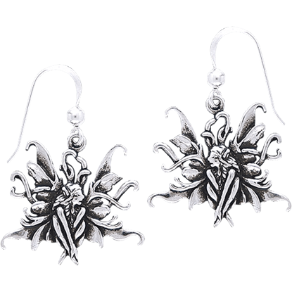White Bronze Blue Fairy Earrings
