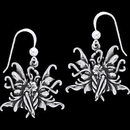White Bronze Blue Fairy Earrings