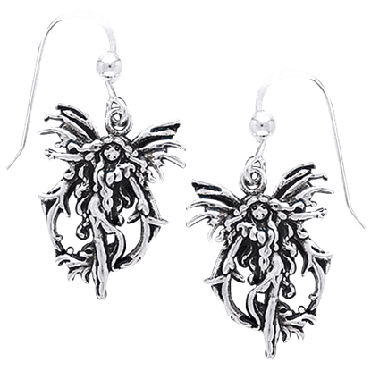 White Bronze Fire Fairy Earrings