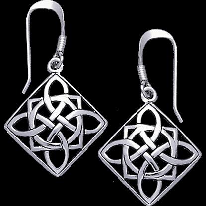 White Bronze Squared Quaternary Knot Earrings