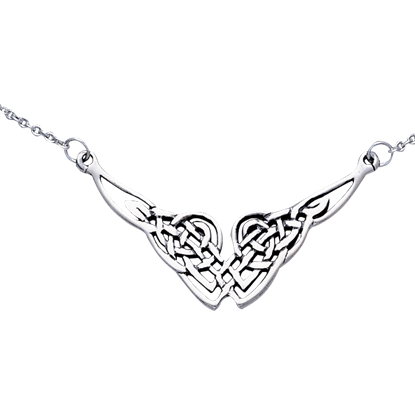 White Bronze Endless Knot Necklace
