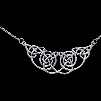 White Bronze Celtic Spiral Knot Necklace