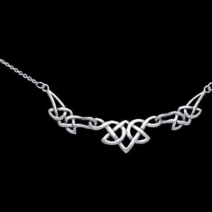 White Bronze Celtic Three Knot Necklace