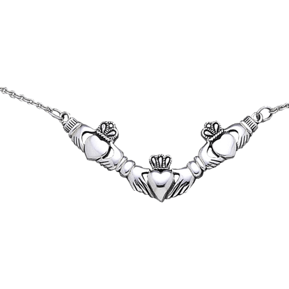 White Bronze Triple Claddagh Necklace
