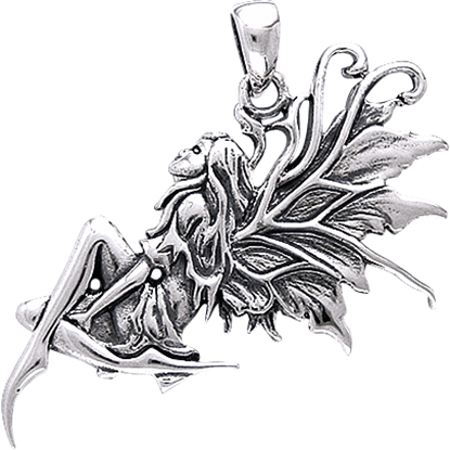 White Bronze Daydreaming Fairy Pendant