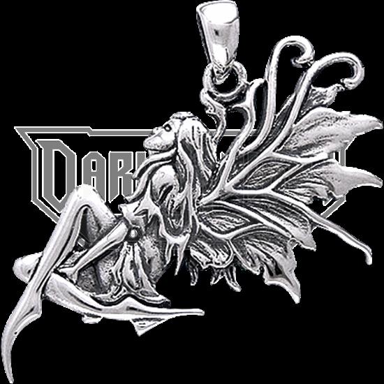 White Bronze Daydreaming Fairy Pendant