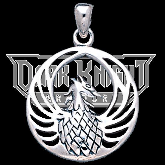White Bronze Round Phoenix Pendant