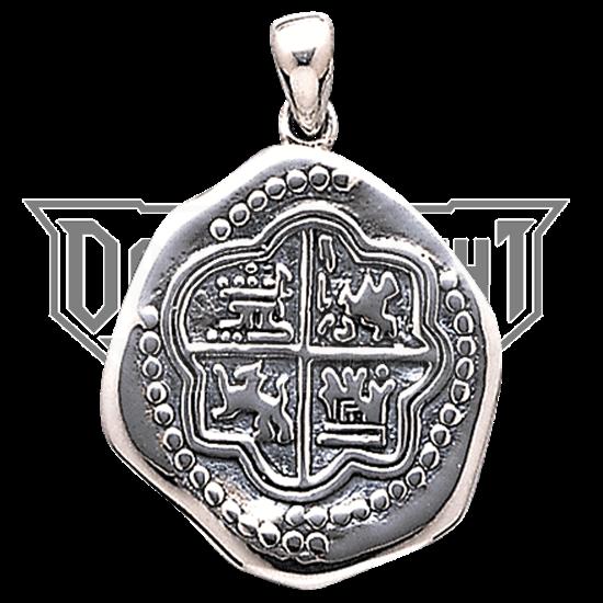 White Bronze Pirate Coin Pendant