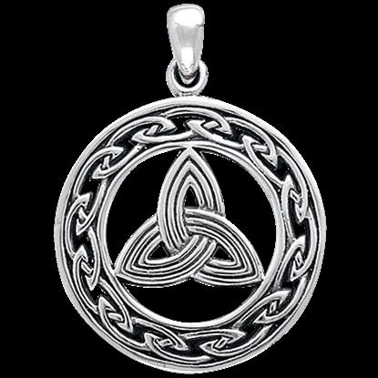 White Bronze Triquetra Eternal Knot Pendant