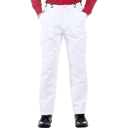 Classic White Steampunk Trousers