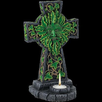 Green Man On Cross Candleholder