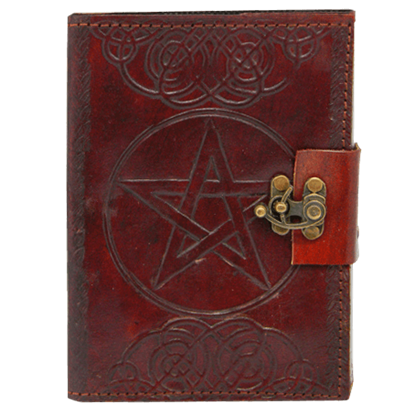 Small Embossed Leather Pentacle Journal with Lock