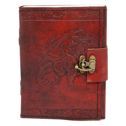 Embossed Leather Single Dragon Journal with Lock