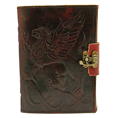 Embossed Gryphon Leather Journal with Lock